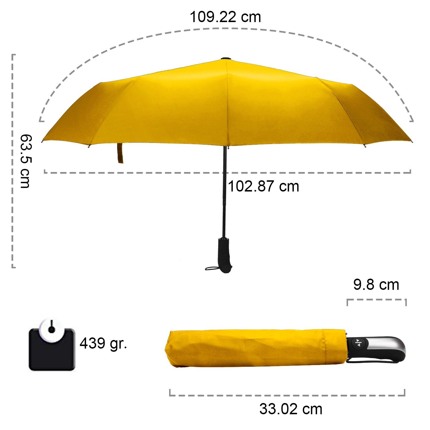 Yellow Rainlax Travel Umbrella