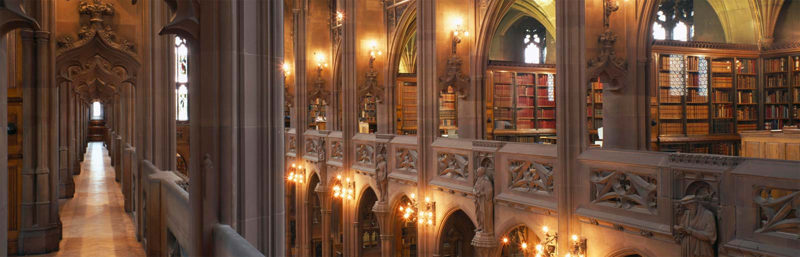 Inside the John Rylands Library in Manchester.